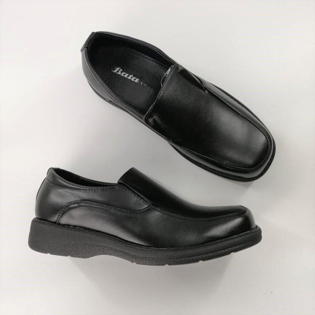 (851-6616) Bata รองเท้าหนังคัชชูผู้ชายบาจา แบบสวม สีดำ รหัส 851 6616