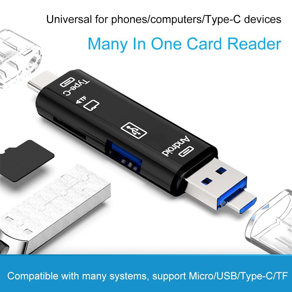 5-in-1 อะเเดปเตอร์การ์ดรีดเดอร์ Type-c Micro สำหรับ มือถือ Android-IOS /  คอมพิวเตอร์