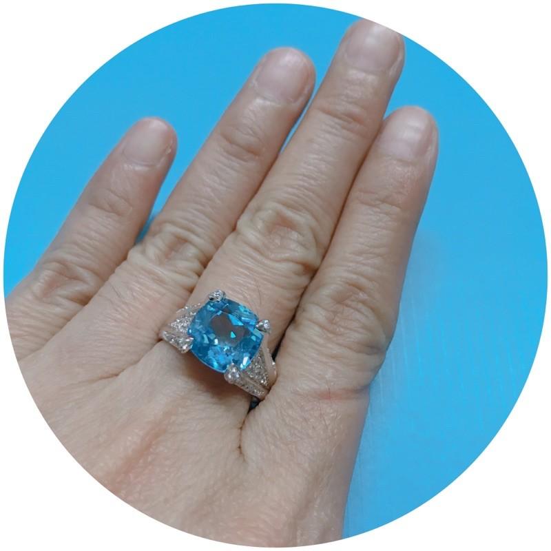 แหวนพลอยบลูโทแพสแท้(ราศีธนู) เงินแท้ชุบทองคำขาวหรูหรามาก งานสวยเนี้ยบเหมาะใส่ออกงานเลี้ยง สินค้าเกรดพรีเมี่ยม