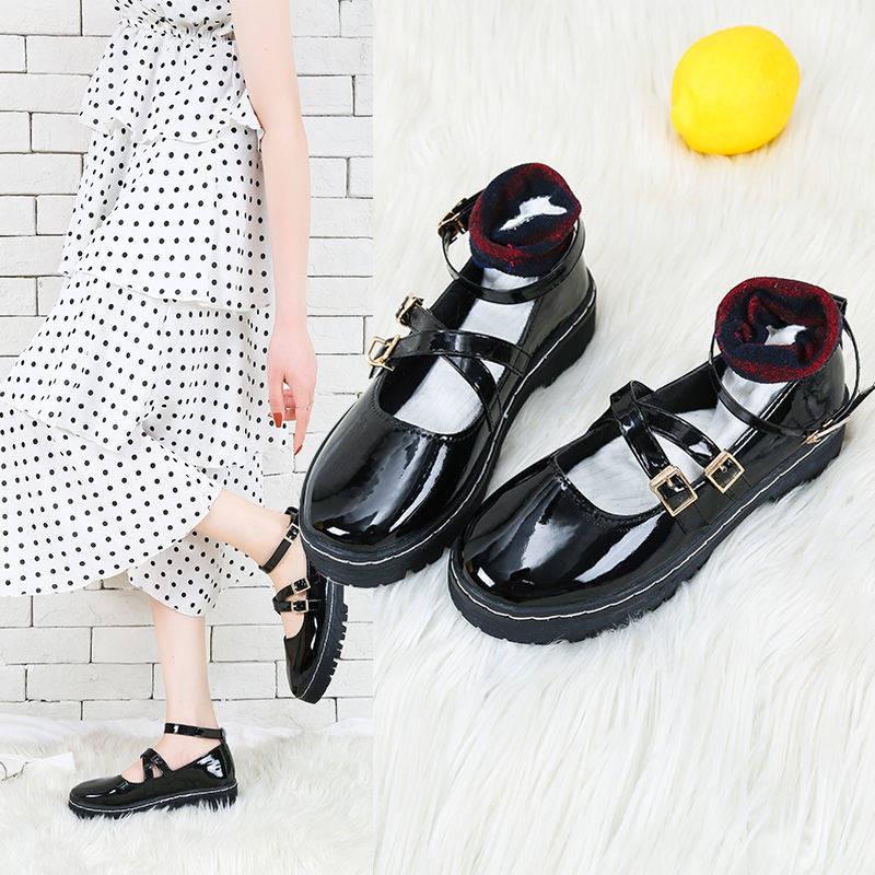 รองเท้าส้นสูงไซส์ใหญ่!รองเท้าคัชชู!รองเท้าส้นสูงมือสอง! 2020 ฤดูใบไม้ผลิใหม่ญี่ปุ่น Lolita รองเท้าหนังหญิงหนา soled Mary Jane สีดำรองเท้าเดี่ยวหญิง JK รองเท้า