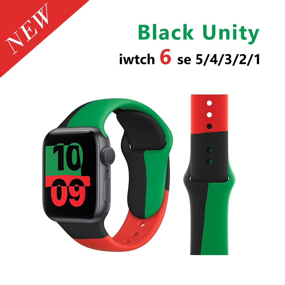 2021 New Soft Silicone Sport Band for Apple Watch Series 6 SE 5 4 3 2 Black Unity Watchband for iWatch 38MM 42MM 40MM 44
