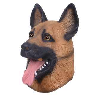 German Shepherd Latex Mask Adults Fancy Dress Animal Dog Mens Costume Accessory