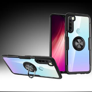 Review Xiaomi Redmi Note 8 Casing Redmi Note 8 Pro Case Shockproof Armor Tough Transparent Magnetic Ring Stand Hard Cover