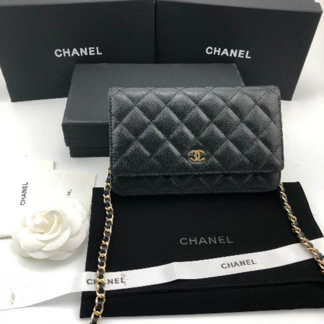 ✅หนังแท้ ✅งาน Ori ✅ตรงตามแท้ Chanel Wallt On Chain (WOC) Caviar Leather Gold HW