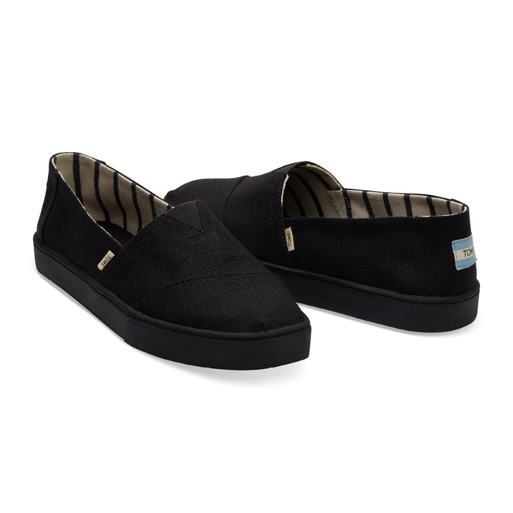 TOMS รองเท้าลำลองผู้ชาย แบบสลิปออน (Slip on) รุ่น Cupsole Alpargata Black/Black Heritage Canvas รองเท้าลิขสิทธิ์แท้