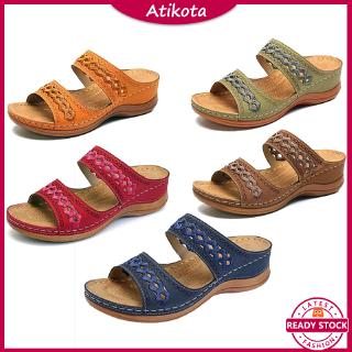 ❤️Atikota Retro Women Wedge Sandals Large Size Fish Mouth Thick Bottom Casual Ladies Sandal Slip On