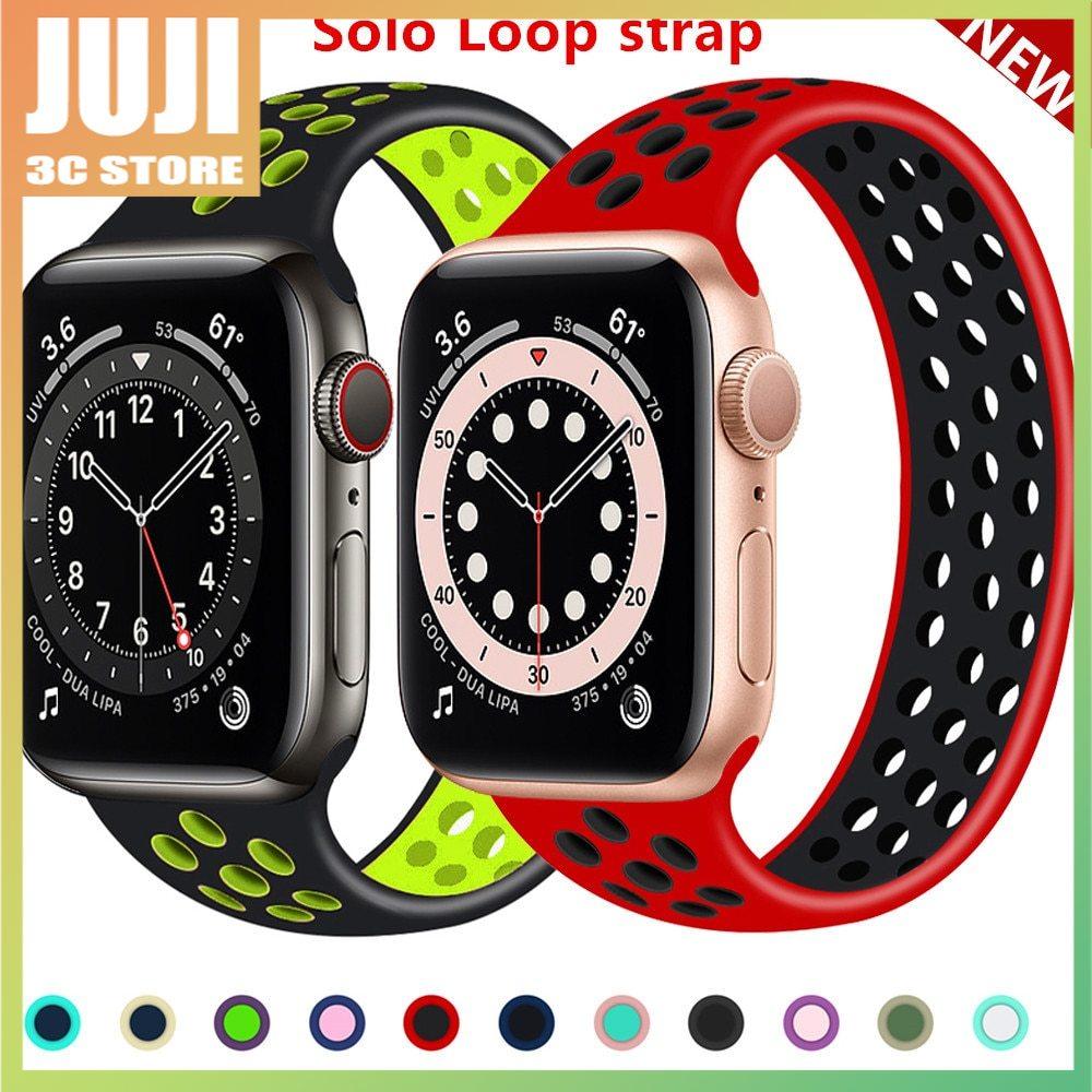 สายนาฬิกาข้อมือซิลิโคนยืดหยุ่นสําหรับ Apple Watch Band 44 มม . 40 มม . 38 มม . 42 มม . Iwatch Series 3 4 5 Se 6