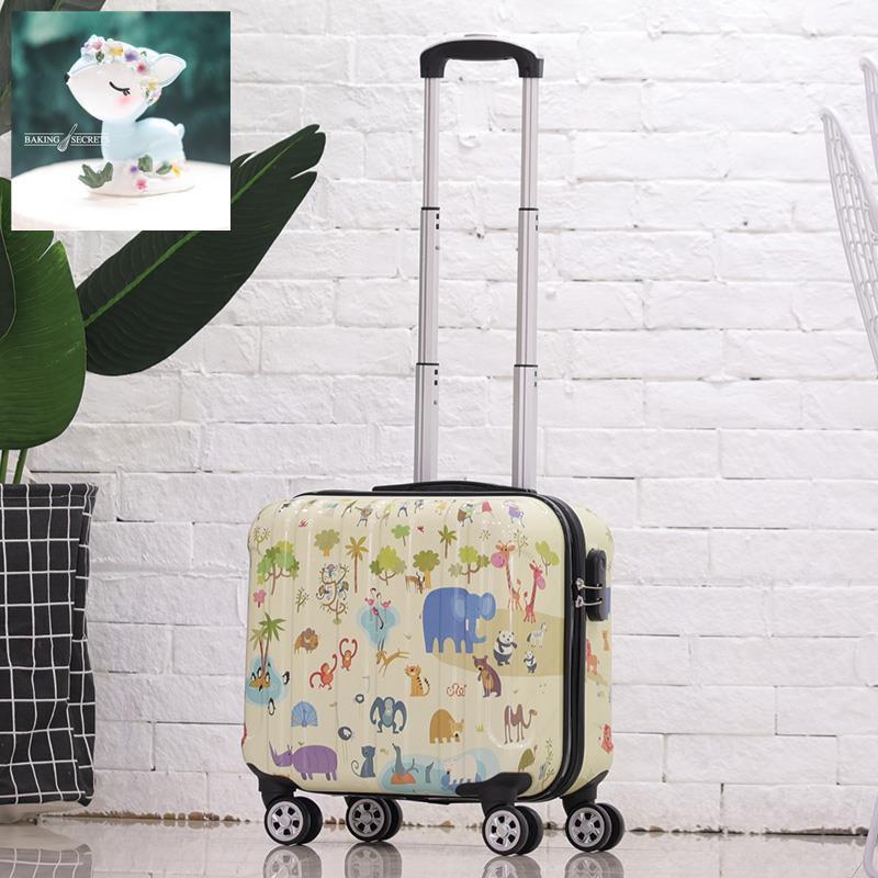 กระเป๋าเดินทางใบเล็กน่ารัก 18 นิ้วหญิงมินิ กระเป๋ารถเข็นการ์ตูนรหัสการเดินทางสำหรับเด็กเล็กกระเป๋าเดินทางของผู้ชาย