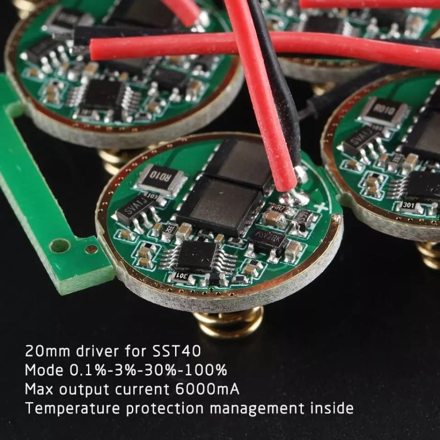 ไดร์เวอร์ Convoy M21a S21a Luminus Sst40 Sst-40 Cree Xp-l2 20 มม. 4 โหมดสําหรับรถยนต์