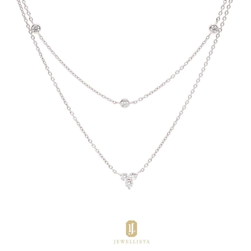 ราคาพิเศษ☒☏┇Jewellista สร้อยคอเลเยอร์รุ่น Veda เงินแท้ 925 ประดับพลอย Zirconia จาก Swarovski ชุบทองคำขาว