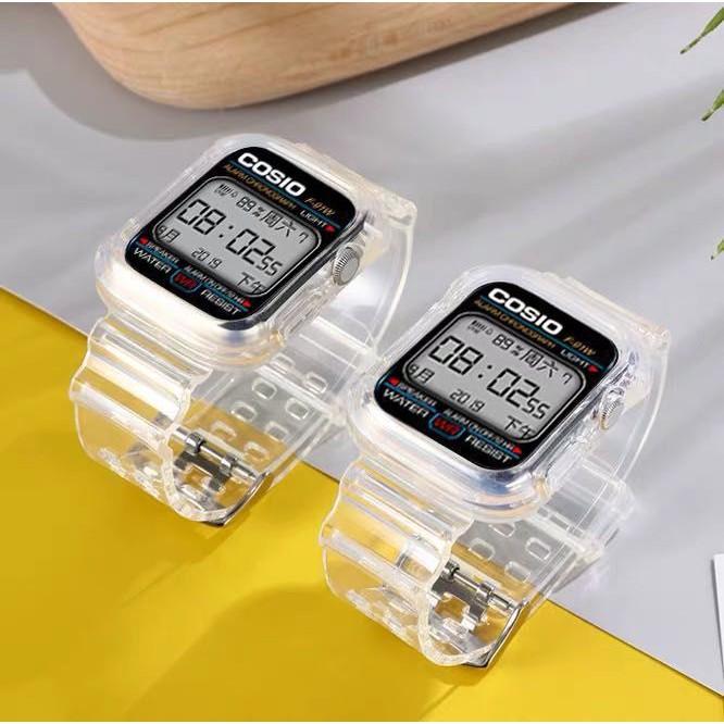 สายคริสตอล แบบใส ขนาด38/40 42/44 ใช้สำหรับapple watch หรือ w55 w54 w88 t68 pro ft50 t5+ t500และอื่นๆที่ขนาด42/44 38/40