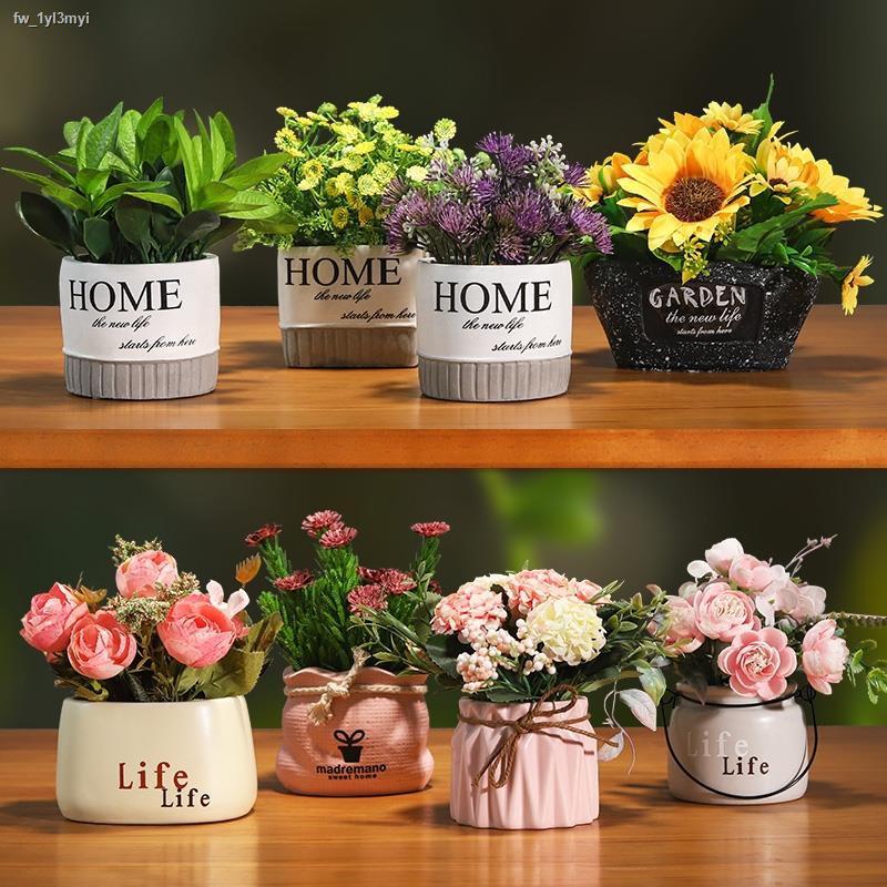 การจำลองพันธุ์ไม้อวบน้ำ☊▣บ้านกระถางต้นไม้นอร์ดิก ins สร้างสรรค์จำลองดอกไม้สีเขียวห้องนั่งเล่นห้องนอนปลอม ดอกไม้บอนไซตกแต
