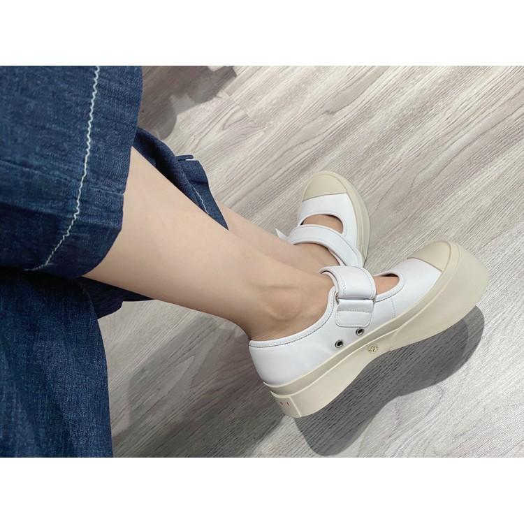 แฟชั่นmonoฤดูร้อนmarniน่าเกลียดเม้งหัวใหญ่รองเท้าสีขาวหนาโชลูธเพลง Zu เด็กผ้าใบแมรี่เจน Velcro