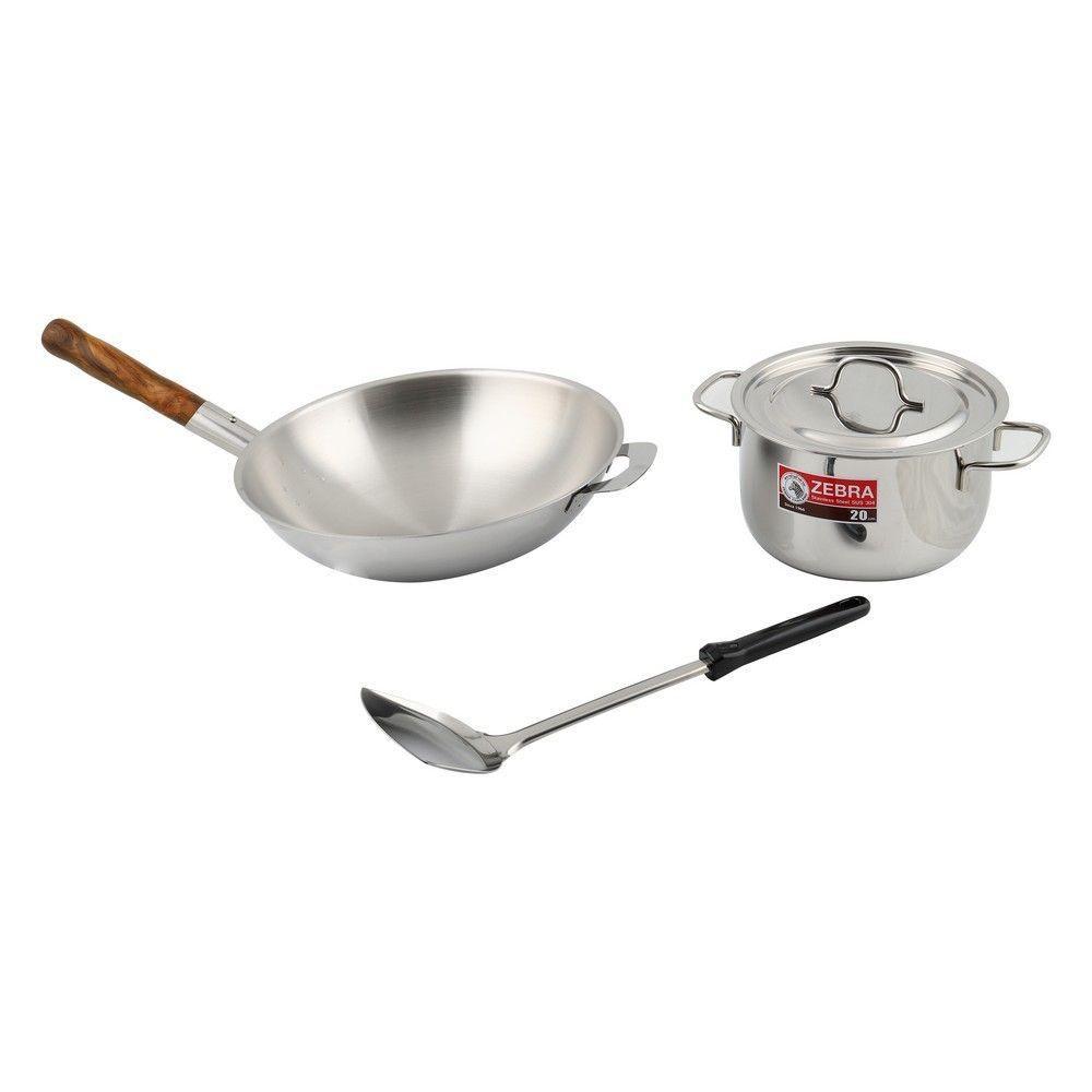 ชุดเครื่องครัว PROFESSIONAL 4 ชิ้น ZEBRA เครื่องครัว Kitchenware Cookware Pan Wok Pot