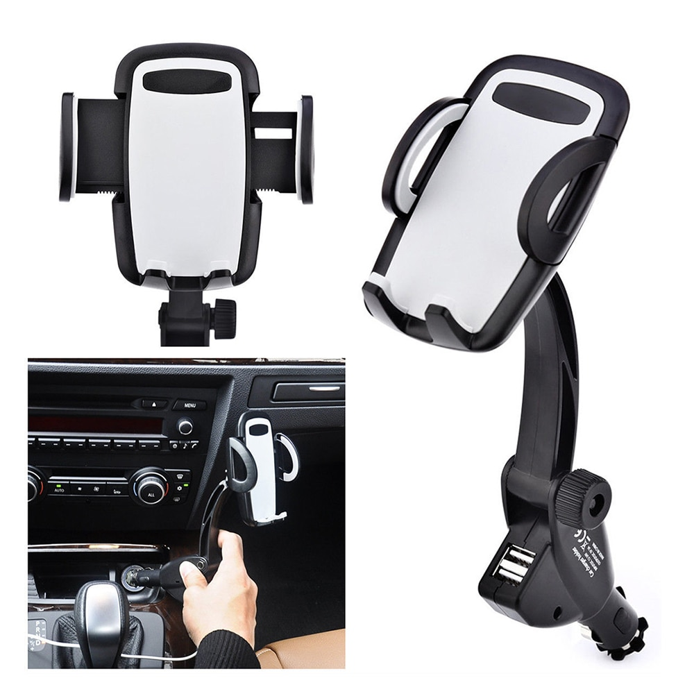 Car Phone Holder USB Car Cigarette Lighter Mobile Phone Stand Mount Charger Car Accessories holder for smartphone in the