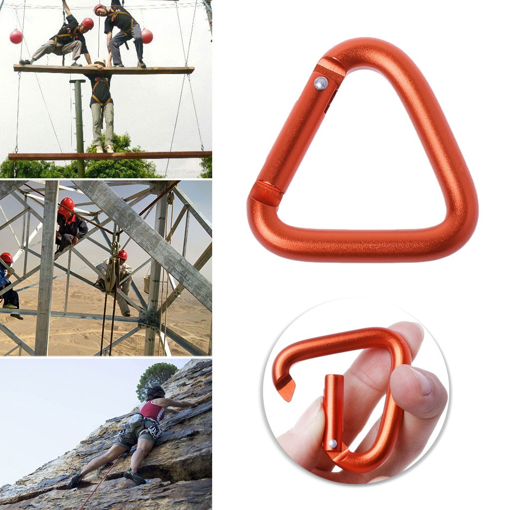 5pcs Outdoor Triangle Carabiner Camping Hiking Keychain Snap Hook Kettle Buckle