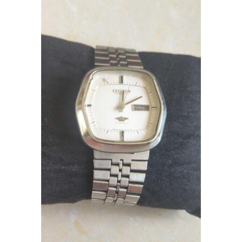 นาฬิกาแบรนด์เนมCITIZEN 21JEWELSระบบ automatic ช่องวันที่ สายสแตนเลส ของแท้มือสอง สภาพสวย