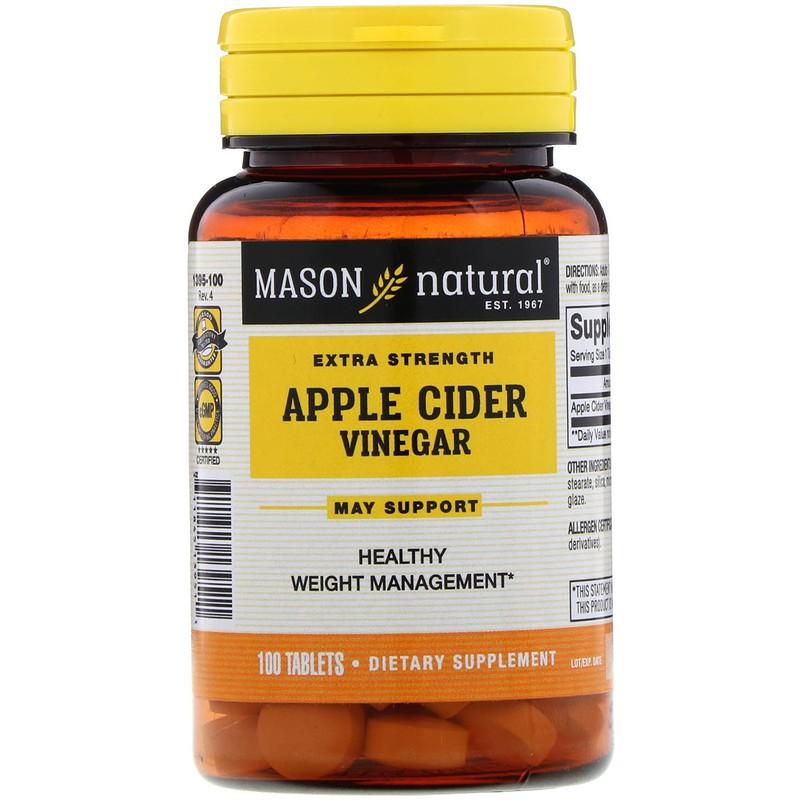 พร้อมส่ง!!! Mason Natural, Extra Strength Apple Cider Vinegar, 100 Tablets