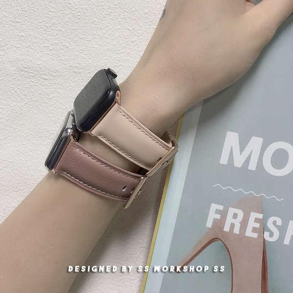 สาย applewatch ใหม่สายนาฬิกา iwatch หนังย้อนยุคสี Morandi สำหรับ apple applewatch5se4 หนังผู้ชายและผู้หญิง