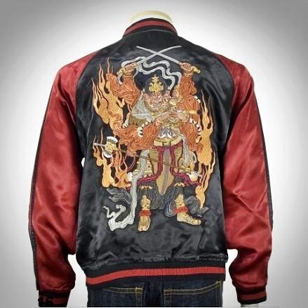 SUKAJAN แบรนด์แท้ญี่ปุ่น  Japanese Souvenir Jacket  แจ็คเกตซูกาจันลาย Flame Ashura