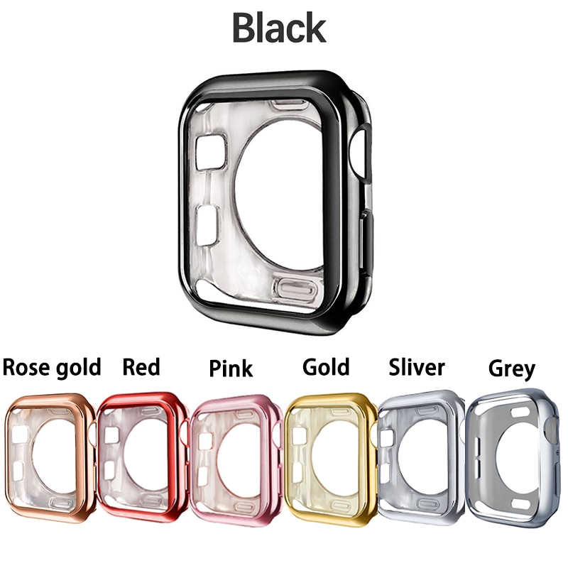 Watch cover Case for Apple Watch 4 5 40mm 44mm Scratch Half pack electroplating TPU cases For iWatch Series 3 2 42mm 38m