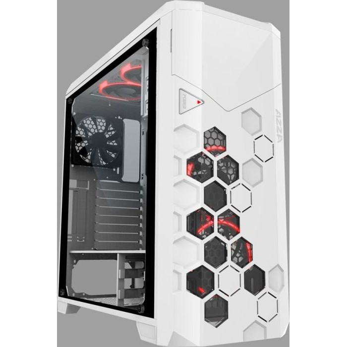 AZZA Storm Series CSAZ-6000RGB/W White SECC Tempered Glass ATX Full Tower Computer Case with 4 Hurricane RGB Fans