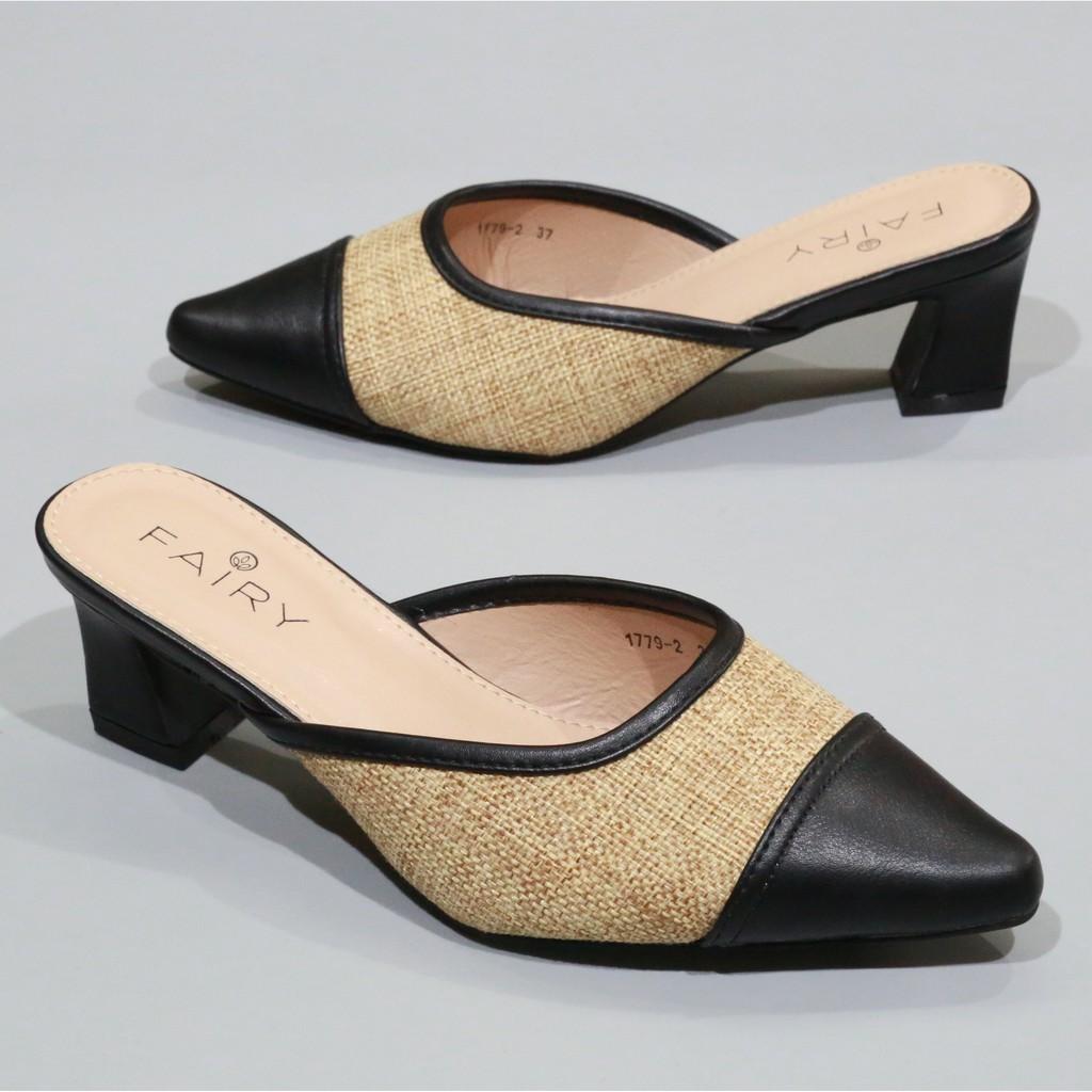 """1779-2 คัชชูเปิดส้นสูง 2 """"  รองเท้าคัชชูหัวแหลมเปิดส้นผ้ากระสอบ  ส้นสูง/ส้นใหญ่ แฟชั่น FAIRY GgZe"""