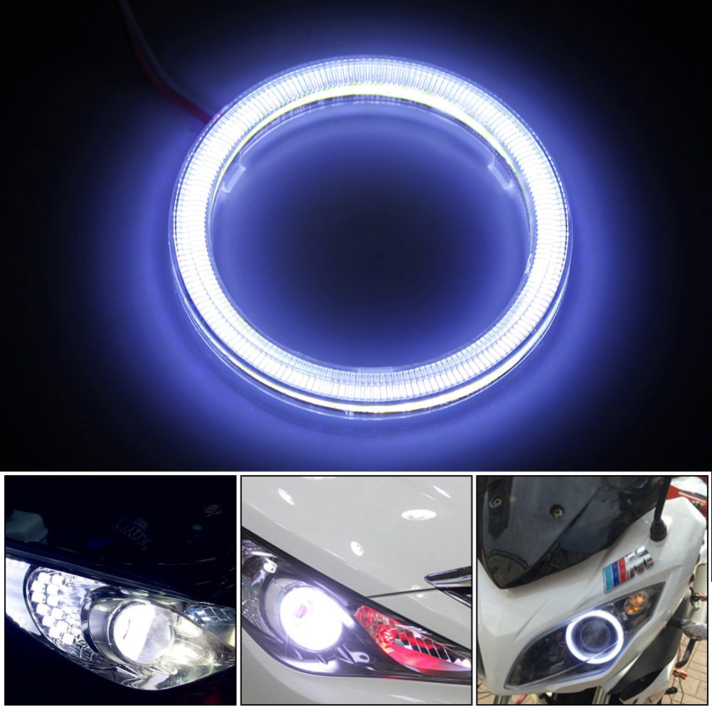 60mm Auto Halo Rings Angel Eye COB Chips Headlight DRL LED Chips Car Light For Motorcycle Car 1 pair