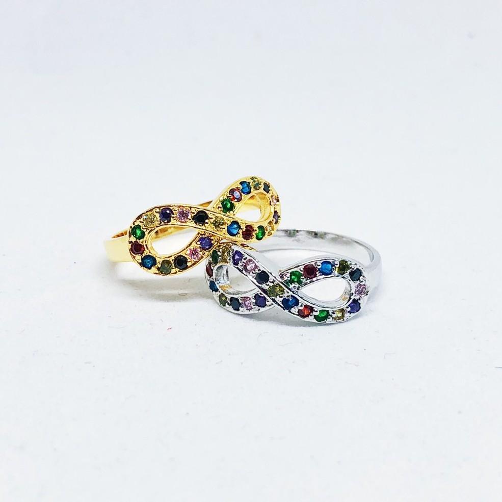 แหวนอินฟินิตี้ พลอยนพเก้า เพชร cz ชุบทองไมครอน และทองคำขาว ราคาพิเศษ