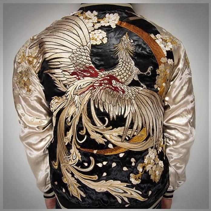 SUKAJAN พรีเมียมเกรด Japanese Souvenir Jacket แจ็คเกตซูกาจันลาย ฟีนิกซ์เสือทอง