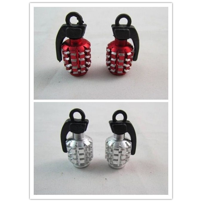 2 pc Grenade Alloy Valve Caps Dust Covers bike bicycle mtb bmx Car Red