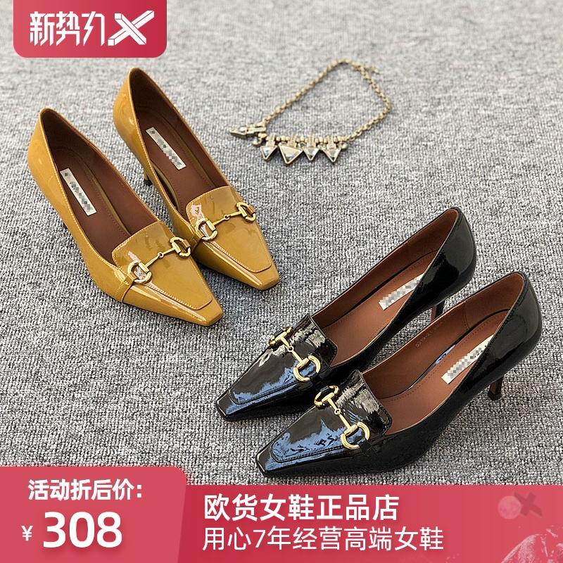 รองเท้าคัชชูหัวแหลม ผู้หญิงยุโรป Grand Prix2020ฤดูใบไม้ร่วงใหม่สินค้ายุโรปหนังชี้ปากตื้นหนังสิทธิบัตรอารมณ์กริชรองเท้าส้