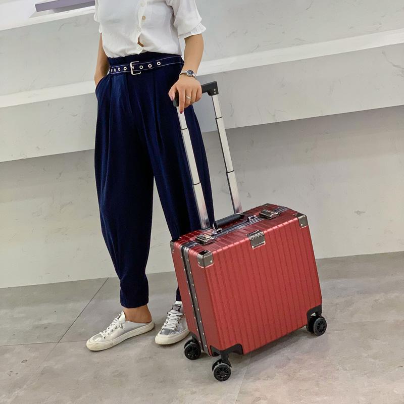 ขาย18นิ้วอลูมิเนียมกรอบขึ้นตัวถังกระเป๋าเดินทางรถเข็นชายและหญิงมินินักเรียน16กระเป๋าเดินทางพิเศษ飞机箱