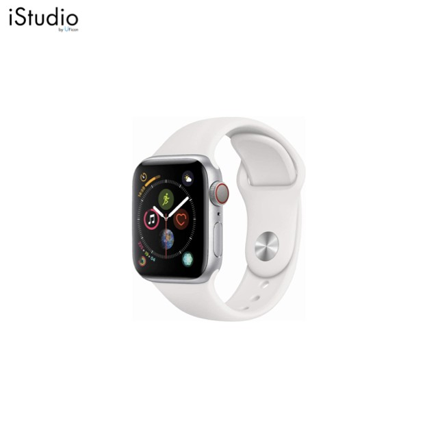 Apple Watch Series4 GPS+Cellular,  Stainless Steel Case with White Sport Band