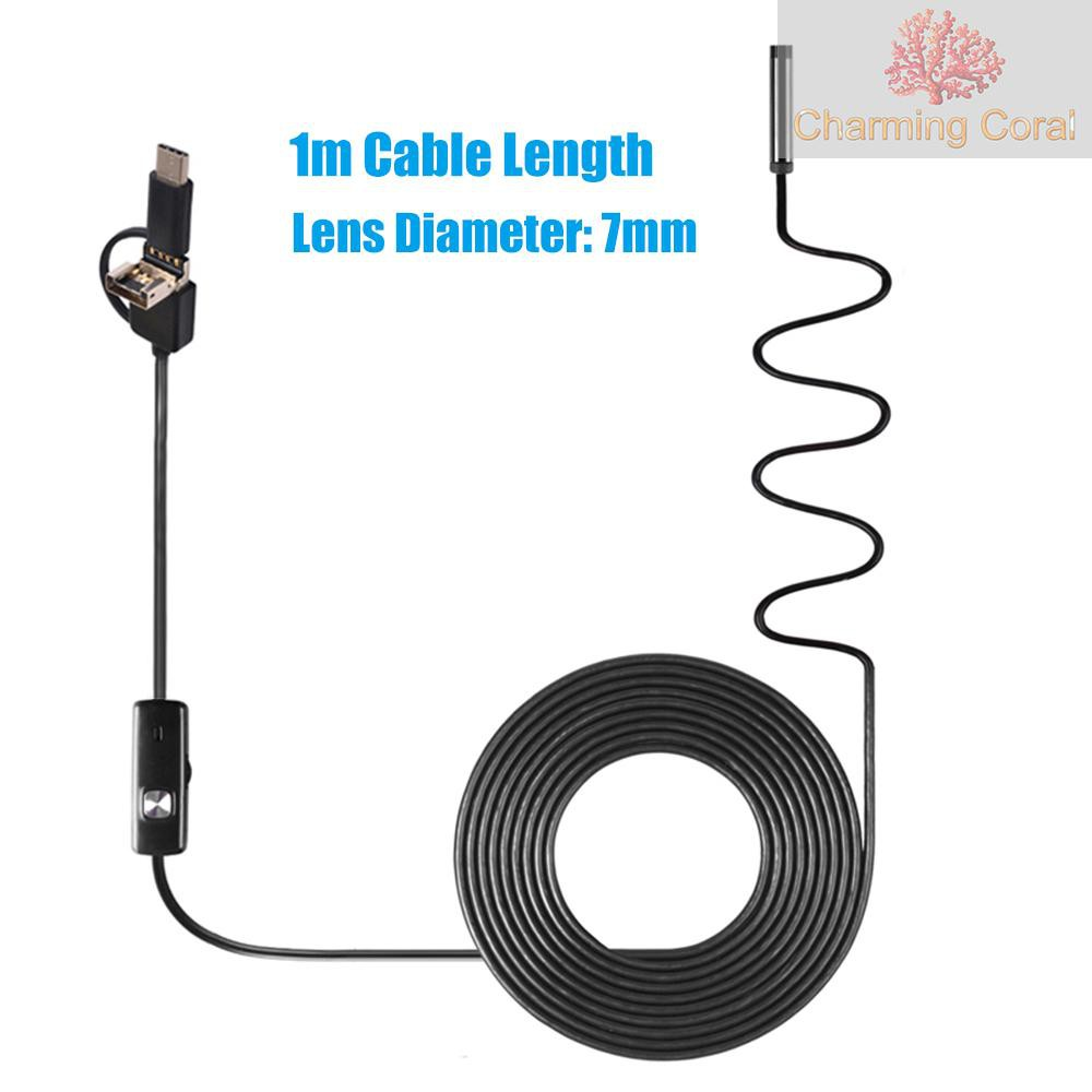 7MM 10M Vehicle Car 6LEDs Inspection Camera 67° View Angle Endoscope 2 in 1 USB