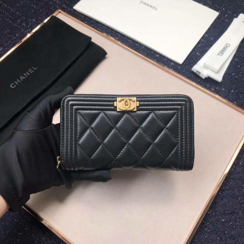 (สินค้าสั่งผลิต) Chanel boy long zipper wallet