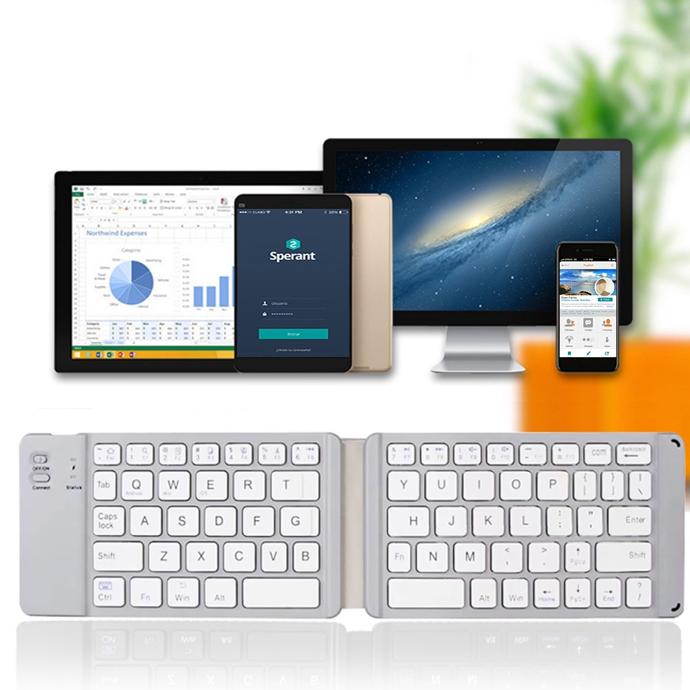 Compact Portable For IOS Android Universal Bluetooth 3 0 Phone Laptop USB  Rechargeable Wireless Folding Keyboard