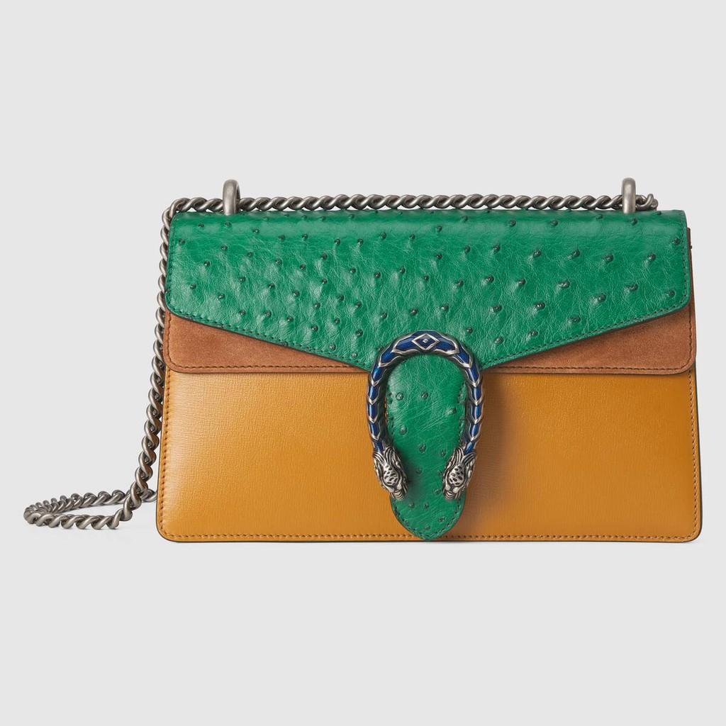 Gucci / New / Dionysus Series กระเป๋าสะพายใบเล็กหนังนกกระจอกเทศ / กระเป๋าถือเด็กผู้หญิง / ของแท้ 100% / 28CMกระเป๋าแท้