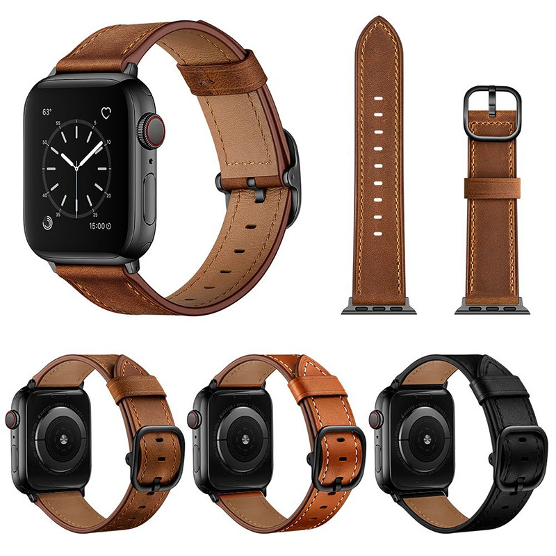 7-5[bolanxun] applewatch ที่ใช้งานได้สายหนัง SE6 Apple watch iwatch1/2/3/4 แสดงถึงชั้นชั้นนำ cowhide หัวเข็มขัดกลมใหญ่สายหนังน้ำค้างแข็ง 38/40/42/44 มม. ผู้ชาย tide series5