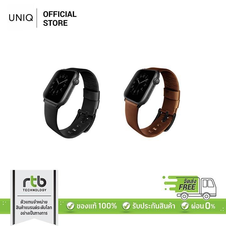 สาย applewatch สาย applewatch แท้ UNIQ สายนาฬิกา Apple Watch 4 ขนาด 44mm รุ่น Mondain Genuine Leather - Black, Brown