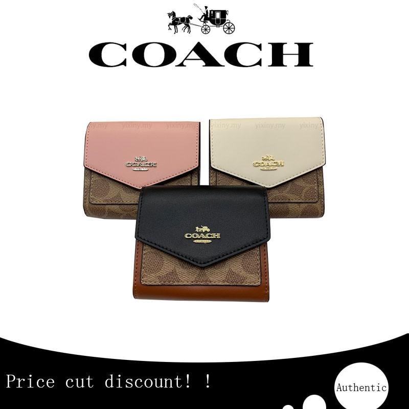 กระเป๋าแท้(พร้อมส่ง) แท้ Coach F31548 กระเป๋าสตางค์สีคลาสสิก / กระเป๋าสตางค์ผู้หญิงใบสั้น / คลิปสั้น / คลัชเหรียญ /