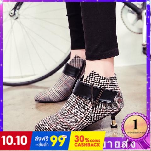 ⭐👠รองเท้าส้นสูง หัวแหลม ส้นเข็ม ใส่สบาย New Fshion รองเท้าคัชชูหัวแหลม  รองเท้าแฟชั่นใหม่รองเท้าสั้นผู้หญิงกริชกับรองเท้