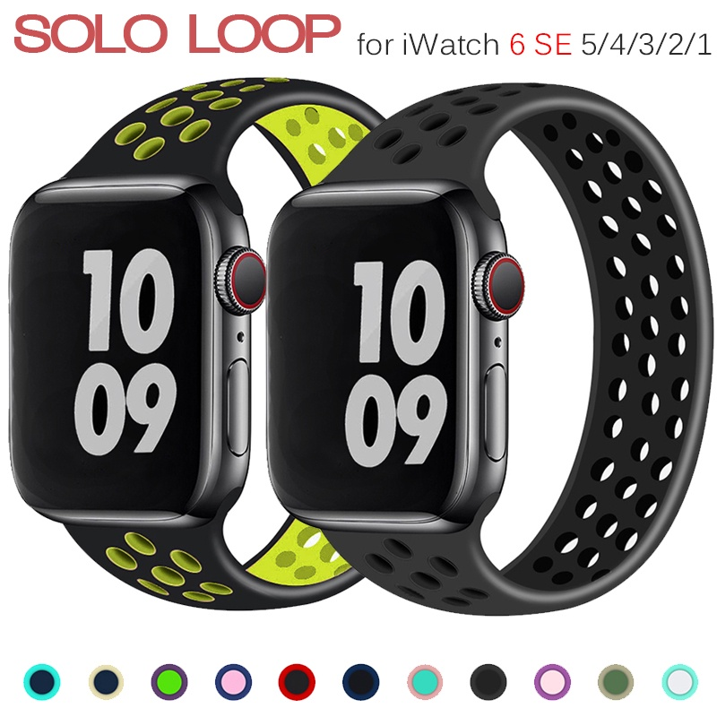 สายนาฬิกาข้อมือซิลิโคนสําหรับ Apple Watch band 44มม. 40มม. 38มม. 42มม. iWatch Series 3 4 5 SE 6
