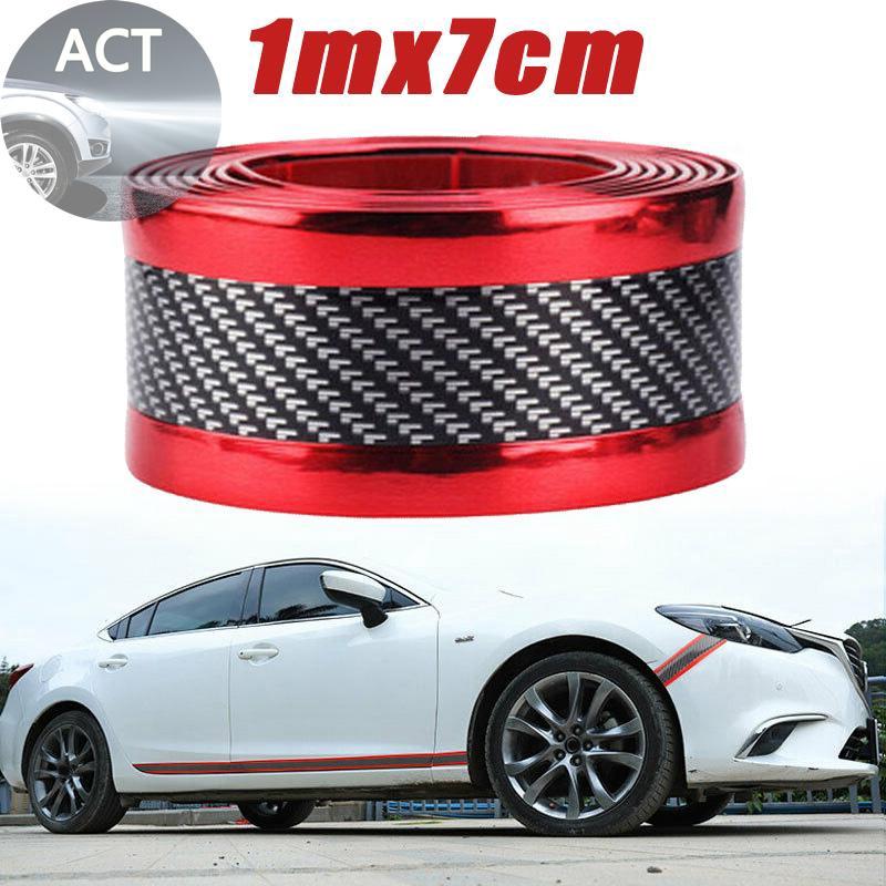 Auto Sticker Carbon Fiber Rubber DIY Door Sill Protector Edge Guard Strip 7CMx1M