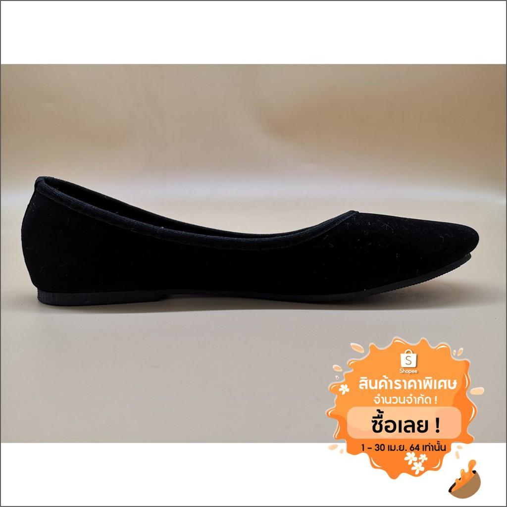 รองเท้าดำหนังกำมะหยี่ พื้นดำ รองเท้าคัทชู รองเท้าพื้นเรียบ รองเท้าใส่ทำงาน รองเท้าคัชชู รองเท้านักศึกษา รองเท้าส้นเตี้ย