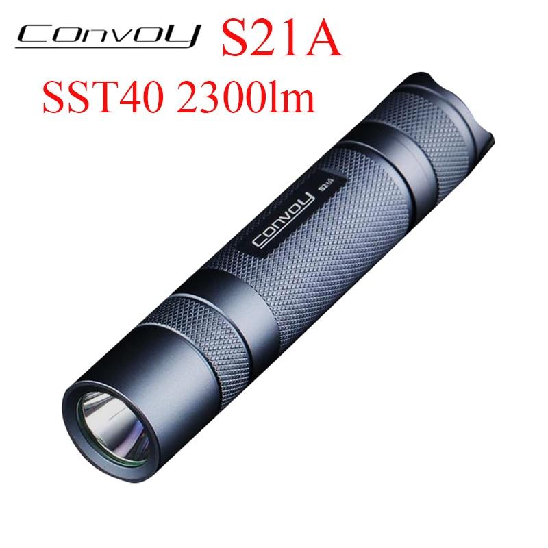 Convoy S21A Luminus SST40 LED Flashlight 2300lm EDC Linterna Led S2+ Plus 21700 Version Torch Camp Lanterna Hand Flash L
