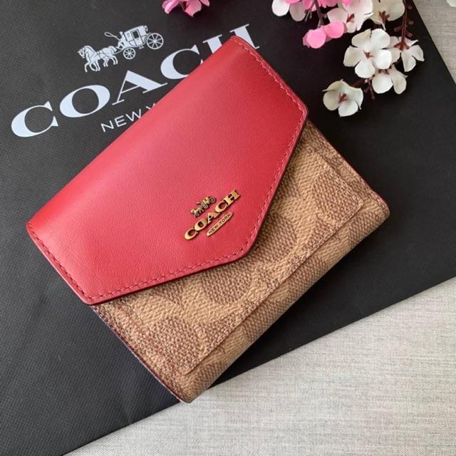 (ผ่อน0%) กระเป๋าสตางค์ ใบสั้น ใบเล็ก ลายซี สีชมพู งานshop Coach 31548 Colorblock Signature Canvas Small Wallet