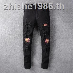 Amiri กางเกงยีนส์ขายาวสำหรับผู้ชาย amiri สีดำ
