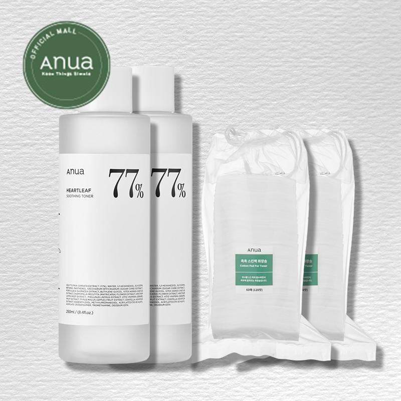 [ANUA] Heartleaf 77% Soothing Toner 250ml 2set / Cotton Pad for Toner 60pads 2set