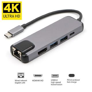 5 in1 USB 3.1 Type C Hub 4K Hdmi USB 3.0 to Rj45 Lan Adapter Charger for Macbook